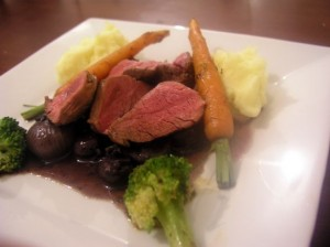 Pan-fried venison with shallots, mushrooms & wine